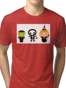 Happy Kids in Halloween costumes Tri-blend T-Shirt