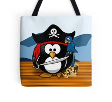Pirate Penguin with Treasure Chest Tote Bag