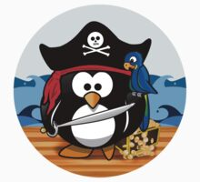 Pirate Penguin with Treasure Chest Kids Tee