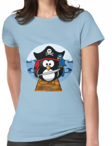Pirate Penguin at Sea Womens Fitted T-Shirt