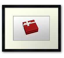 red gift box with white ribbon Framed Print