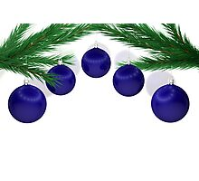a set of blue Christmas balls  Photographic Print