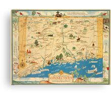 Historical map of the state of Connecticut 1930s Canvas Print
