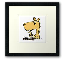 Coo Funny Horse Playing Chess Artwork Framed Print