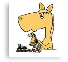 Coo Funny Horse Playing Chess Artwork Canvas Print