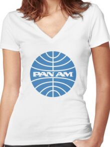 Pan am retro logo Women's Fitted V-Neck T-Shirt