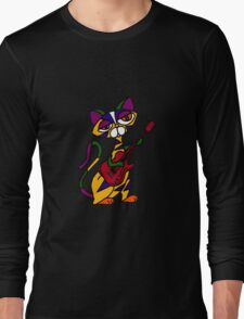 Cool Psychedelic Cat Playing Electric Guitar Long Sleeve T-Shirt
