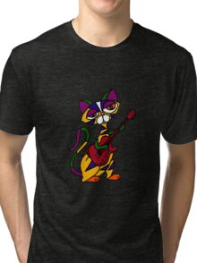Cool Psychedelic Cat Playing Electric Guitar Tri-blend T-Shirt