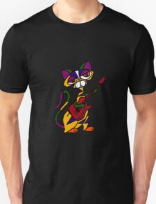 Cool Psychedelic Cat Playing Electric Guitar T-Shirt