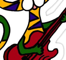 Cool Psychedelic Cat Playing Electric Guitar Sticker