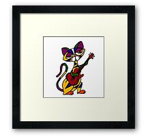 Cool Psychedelic Cat Playing Electric Guitar Framed Print