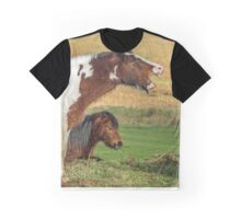 Piebald Horse Laughing Graphic T-Shirt