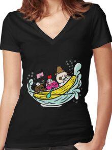 Banana Pirates Women's Fitted V-Neck T-Shirt