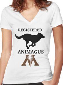 Registered Animagus (Dog) Women's Fitted V-Neck T-Shirt