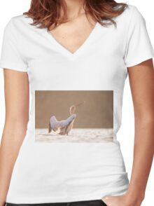 Pelican in the water  Women's Fitted V-Neck T-Shirt