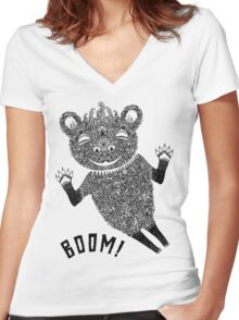 Boom Bear Women's Fitted V-Neck T-Shirt
