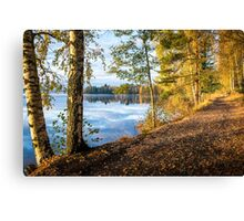 From blue to yellow (morning light at the lake) Canvas Print