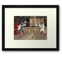 Raccoon Saloon Framed Print