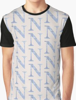 Letter N Blue Watercolor Stripes Monogram Initial Graphic T-Shirt