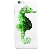 Seahorse in a Green Mottled Pattern iPhone Case/Skin