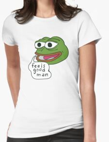 """Pepe The Frog """"Feels good man"""" Womens Fitted T-Shirt"""