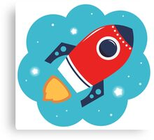 Spaceship or Rocket in Blue Cloud Canvas Print