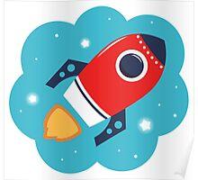 Spaceship or Rocket in Blue Cloud Poster