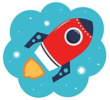 Spaceship or Rocket in Blue Cloud Photographic Print