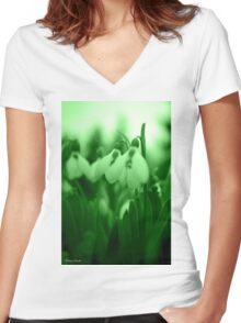 Snowdrop Abstract Women's Fitted V-Neck T-Shirt