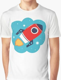 Spaceship or Rocket in Blue Cloud Graphic T-Shirt