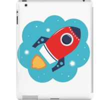 Spaceship or Rocket in Blue Cloud iPad Case/Skin