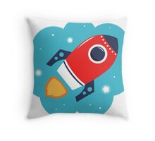 Spaceship or Rocket in Blue Cloud Throw Pillow