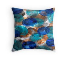 Blue Gray Orange Ovals Throw Pillow