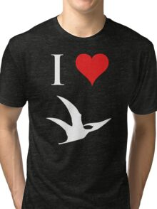 I Love Dinosaurs - Pterodactyl (white design) Tri-blend T-Shirt