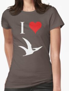 I Love Dinosaurs - Pterodactyl (white design) Womens Fitted T-Shirt