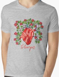 Blossom heart Mens V-Neck T-Shirt