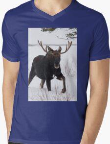Moose on the Move Mens V-Neck T-Shirt
