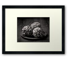 Still life with artichokes 2 monochrome Framed Print