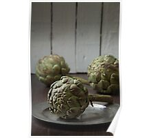 Artichokes in a rustic kitchen Poster