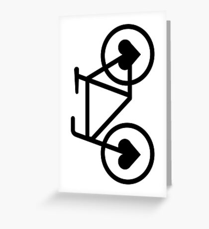 Black Bicycle Love - Fixie Hearts Greeting Card