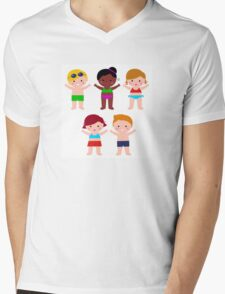 Little cute colorful summer Kids Mens V-Neck T-Shirt