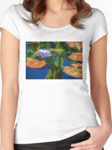 Autumn Lily Pad Impressions Women's Fitted Scoop T-Shirt