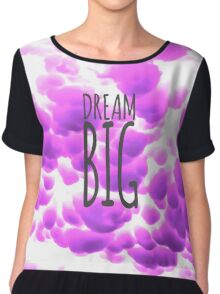 Dream Big Typography and Purple Clouds Chiffon Top