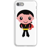 Cute young Super hero boy - Black + Red iPhone Case/Skin