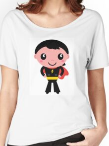 Cute young Super hero boy - Black + Red Women's Relaxed Fit T-Shirt