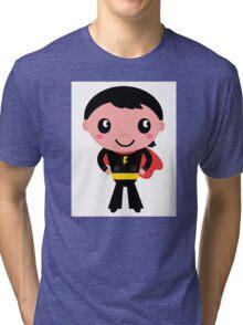 Cute young Super hero boy - Black + Red Tri-blend T-Shirt