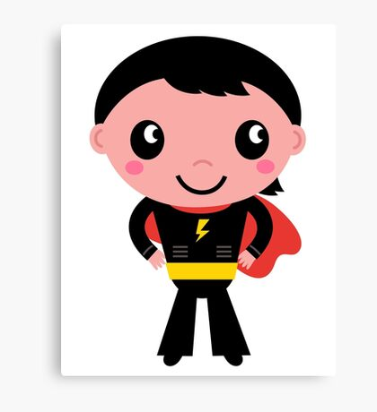 Cute young Super hero boy - Black + Red Canvas Print