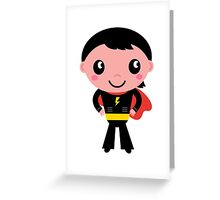 Cute young Super hero boy - Black + Red Greeting Card