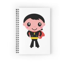 Cute young Super hero boy - Black + Red Spiral Notebook