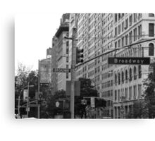 Traffic lights on Broadway (monochrome) Canvas Print